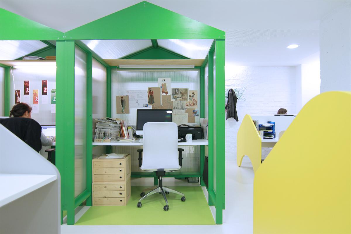 Puesto de trabajo fijo modelo Green Cabin en Freeland Coworking