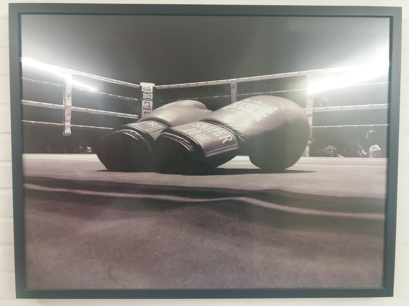 Una fotografía en la que salen unos guantes de boxeo sobre una lona de un ring